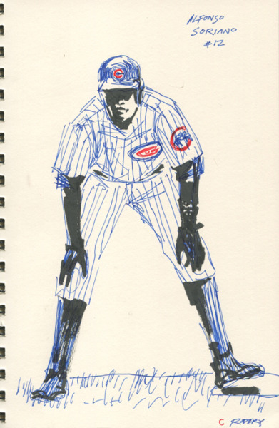 Sketch of #12 Alfonso Soriano for today's great Cub's win