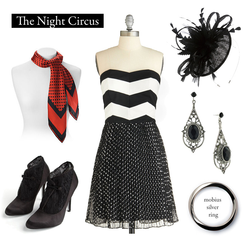 "Outfit inspired by Erin Morgenstern's The Night Circus.  ""Do you adore Le Cirque des Rêves?"" she asks him. ""Yes,"" he says without hesitation. ""More than anything in the world?"" she adds. ""Yes,"" Bailey says. He cannot keep himself from smiling despite her serious tone and the nerves that are still keeping his heart from beating at a steady rate.  ""Then you are a rêveur,"" Elizabeth pronounces. ""No matter what you wear.""   My Heart Goes Pitter-Pattern Dress 