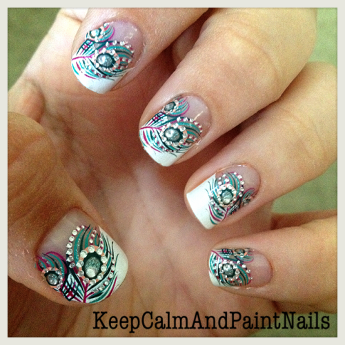 keepcalmandpaintnails:  Peacock nails :)  Wow!