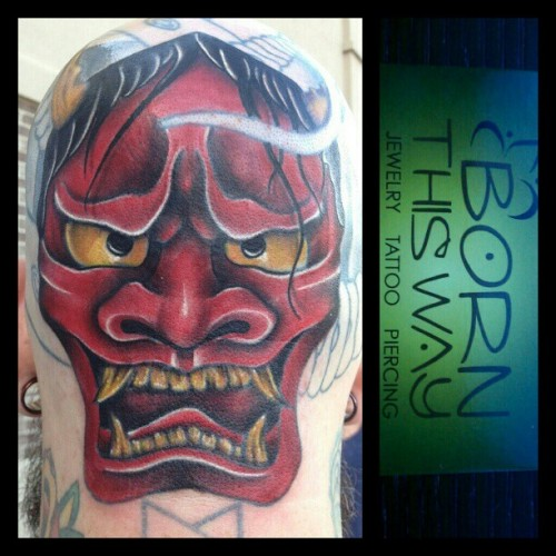 Fresh hannya mask head tattoo on Rick Levenchuck by Jon Goad at [Born This Way Body Arts - Knoxville, TN]