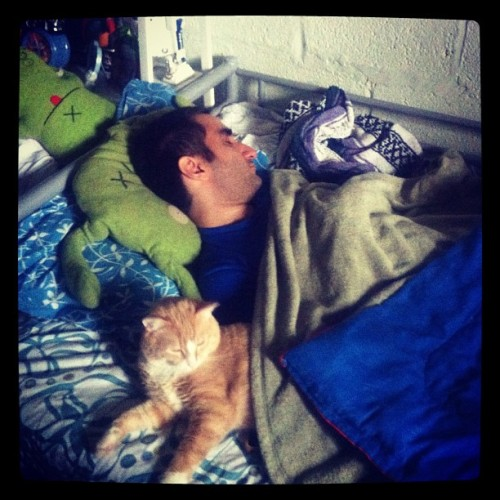 He comes over to sleep in my bed and with my cat (Taken with instagram)
