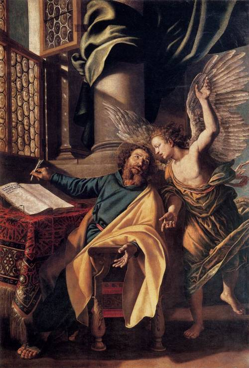 necspenecmetu:  Vincenzo Campi, Saint Matthew and the Angel, 1588