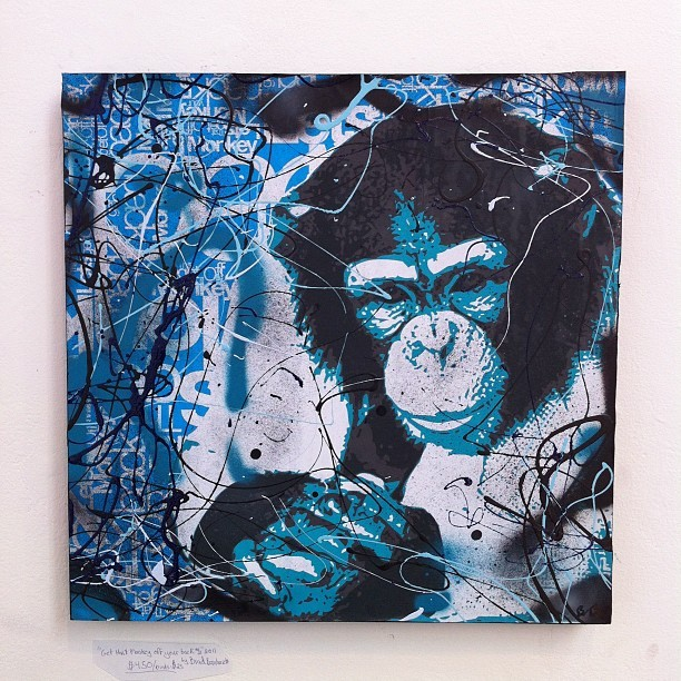 """Get that Monkey off your back #2"" by artist Brad Bernhardt at Cellspace.  @bernhardtstudios (Taken with Instagram at CELLspace)"