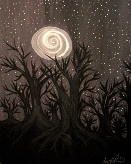 "angelikarosario:  ""Melancholy Trees"" by Angelika Rosario Acrylic painting on 16"" X 20"" canvas. For sale on Etsy, $50 USD. www.etsy.com/shop/angelikarosario"