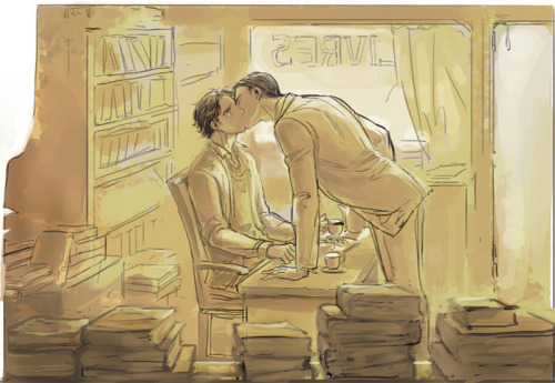"ninemoons42:  [sweetest fan art or sweetest fan art? ugh, this is lovely and magnificent.] ninemoons42 writes: as sweet as breathing, like the scent of old books Charles Xavier was standing right in the farthest corner of the storeroom and he distinctly remembered locking the front door, remembered flipping the sign on the glass panel from OPEN to CLOSED. A glance at the battered pocket-watch hanging from its chain into his waistcoat confirmed what he already knew - that it was four twenty-eight in the afternoon on the 29th of May. The shop was closed early, only for today, because the task of inventory was a good task, an enjoyable task, only it tended to take him several hours. He had the whole shop memorized anyway, from the floor made out of rough-hewn planks to the ceiling covered in a wallpaper of cabbage roses and purple vines. He knew where every title was, and how much each book cost. This was just a way of making sure everything was in its right place - and it was also his time to reacquaint himself with the sweet wood-scent of paper and leather and warmth. So who was knocking at this odd moment? He held his breath carefully as he made his way out of the storeroom, so he wouldn't sneeze at the smell of dust and musty pages. The storeroom that looked right on to the street through the front door - and in the glass panel Charles could clearly make out a faintly familiar silhouette, broad shoulders tapering down to a lean waist, and a large hand pressed to the words Xavier Books. Strangely self-conscious though he knew the man on the other side had seen him more dusty than this, Charles unlocked the door and pulled it to, and there was Erik Lehnsherr in a blue suit and a silver-grey tie. He looked much more put-together than Charles in his cardigan and his rolled-up sleeves marked up with ink and sweat. Though it looked like even Erik had to concede something to the heat of the day, and so his hair was falling out of its usual neat waves; where he normally kept it all combed back and parted precisely there were now some dark strands hanging in his eyes. There was a paper bag in Erik's hand, and Charles made an inquisitive face at him and reluctantly let him in. Erik made the face right back and headed straight to the great old table in the window that served Charles for both a work desk and a counter. ""I was hoping you hadn't started yet,"" he said, and when he opened the paper bag Charles smiled and thought about forgiving him, because now he could add the scents of sugar and orange syrup to his bookstore, and those were lovely things to think about and remember. ""Or I'd have laughed at you while you ate - you really should mind your own dust, Charles, who knows where it's been before it came in here."" ""Other books,"" Charles said airily, and he went around to one of the cabinets behind the table, and took out his vacuum flask of tea, and a single pair of teacup and saucer.  ""Oh, no need,"" and Erik pulled the last item out of the bag. Next to the croissants and the sticky buns: a tall paper cup steaming a waft of strong black coffee into the still air. ""This is a feast,"" Charles said appreciatively as he sat down, and motioned Erik into the seat next to his. ""But so much sugar, really, I'm going to have to do something about that - would you recommend another long walk up into the hills, perhaps?"" ""I know you love this place, Charles, but yes, you do have to get out more. If only for your weight. And you should know, people are wondering why you're so difficult on yourself, because I was given all this with the stern advice to make sure you eat something."" Erik was smiling as he tore one of the pastries apart and bit in with all evidence of enjoyment. Flakes and crumbs on his fingertips. Charles laughed and poured out the last of his tea, and he wolfed down one of the buns and was nonplussed when Erik grinned even more widely and pushed one of the croissants in his direction. After a moment to chew and swallow: ""May I know what brought this on? I…I have to apologize for looking such a fright, really - and I haven't even started yet."" ""Actually,"" and Erik coughed and looked away, and was he blushing? He was red around the ears, and Charles poked him gently in the temple, shaking his head as Erik tried to evade him. ""Out with it,"" Charles said fondly. ""I came to ask if you needed any help."" But Erik was so clearly hedging, because he wouldn't even meet Charles's eyes. ""We've known each other three years, you're here more often than not, and you've made a point of being nice to me, even when I'm distracted and covered in cobwebs. Just tell me what this is or what's going on, Erik. I promise I won't get cross."" ""That's a promise? All right."" And the world blurred down to Erik's tentative smile, to the look in his eyes, to his hand on Charles's shoulder and the brush of his lips to the corner of Charles's mouth. He didn't let Erik get very far away afterwards - Charles held him in place by the simple expedient of putting his hand over Erik's on his shoulder, and leaned in to smile, and to kiss him properly."