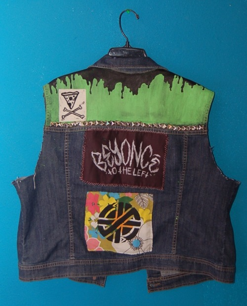Beyonce patch (aka my favorite thing ever) by Izzy Jarvis  Pizza & Crossbones patch here Crass patch stencilled on fabric from my Grandmother's curtains in the 1960s   HERE YOU GO ANON sorry it's a work in progress