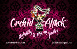 ORCHID ATTACK Rockabilly & Pin-up Jewelry [LOGOTIPO + TARJETAS] facebook.com/OrchidAttackOrchidAttack@gmail.com