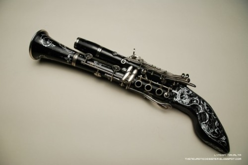 notsufferingfrominsanity:  Clarinet pistols: because there needed to be something in the reed family deadlier and more painful than elementary school clarinetists.