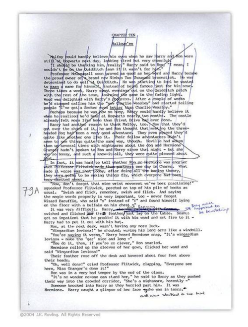 """First typed manuscript of Philosopher's Stone – did it on a manual typewriter and consequently had to re-type the entire chapter every time I changed a paragraph.  Then I had to re-type the whole thing anyway, because it wasn't double spaced."""