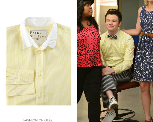 fashionofglee:  Shoes back from Season 1 and a bow tie to match his striped trousers make for a deliciously understated, but still fabulous Kurt Hummel getup. Also available in a women's version. Frank & Eileen Bengal Stripe Dress Shirt - $225.00 Worn with: Brooks Brothers trousers