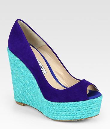 "crazysexyshoes:  ""Alysha"" colorblock wedge by Brian Atwood from spring/summer 2012 collection. Click here to buy."