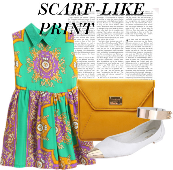 ashenshadows:  Scarf-Like Print by emmarosethermer featuring a studded leather handbag  Retro style dress, $38Pointy flat, $66Michael Kors studded leather handbag, €120