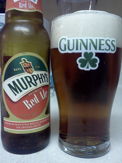 stevesbeerquest:  Murphy's Red Ale Style: Irish Red Ale  ABV: didn't catch it Date Reviewed: 5-20-2012 Pours a neat cherry wood red with gold coloring. Had a huge, foamy white head. Tastes great. The hops and malts are well balanced. Its easy to drink. I wouldn't call this an exciting beer, but not boring either. Just very good. Rating: 7/10