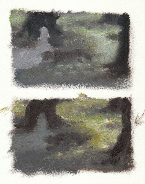 "Color studies! Click through for my blabbering. Oil on unprimed watercolor paper, about 3""x2"""