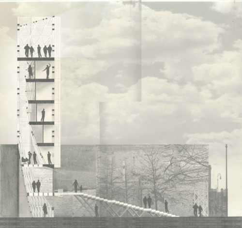 drawingarchitecture:  Live/Work Project for New Haven Jonathon Meier. Graphite and ink on opaque paper.