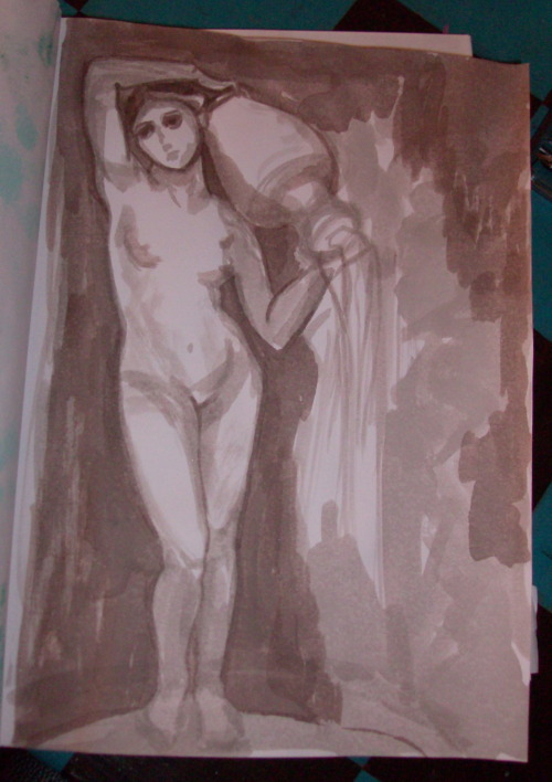 "In progress of a brush and ink drawing after Ingres' ""The Source"""