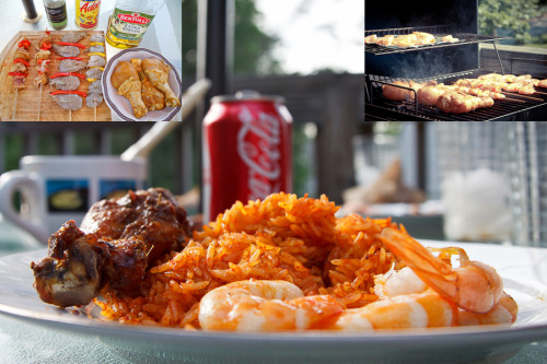 Jollof Rice, Chicken and Shrimp