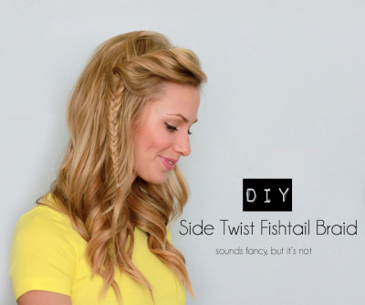 hunterspruce:  Side Twist Fishtail Braid from Running on Happiness - what a fun hairstyle. Video here.  Click here for a great top knot tutorial as well.