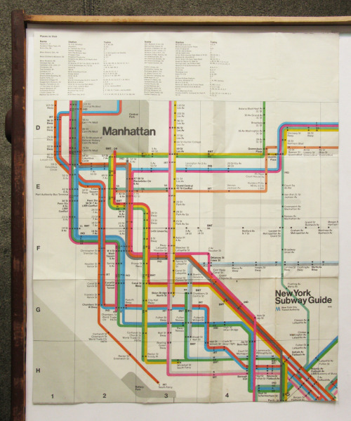 New York City Subway Map (back) designed by Massimo Vignelli, 1972.
