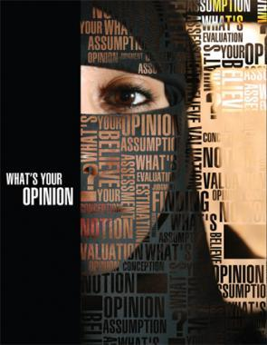 This is a terrific piece of graphic design, turning a niqāb into a veil of words about personal opinion. Since we, too, were trying to find a way to express a person's identity by partially obscuring their physical features with words, this piece really resonated for us. More info »