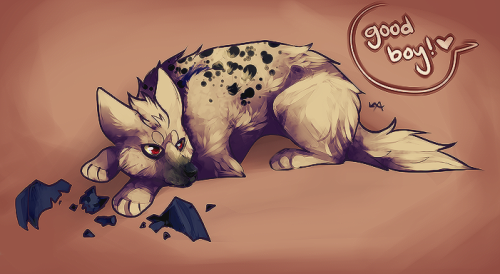 herestocrime:  [[ annnnd finished. Hyena training! they love their bat toys~ ]]