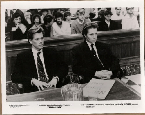 "Theater lobby card for the 1989 Martin Campbell film ""Criminal Law"" starring Kevin Bacon and Gary Oldman. Click the pic to watch the trailer."