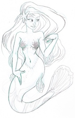 so i watched something about mermaids today on animal planet….so i caved and drew yet another mermaid.
