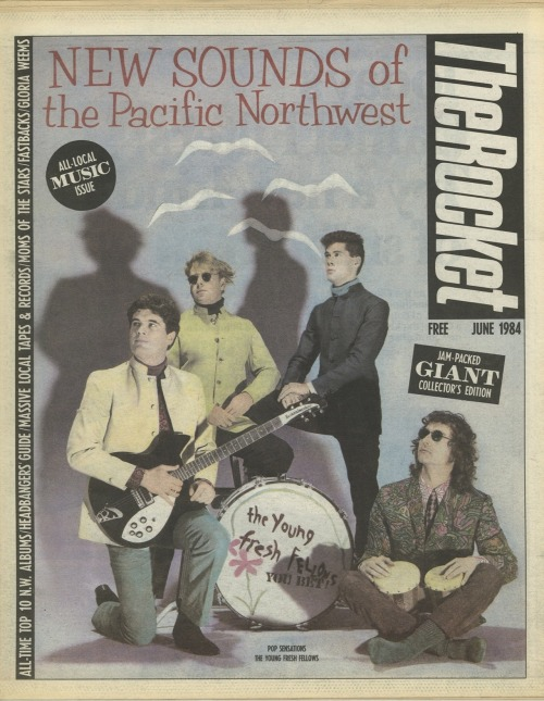 The Rocket, June 1984On the cover: The Young Fresh FellowsArt director: Art Chantry, photograph: Rex Rystedt