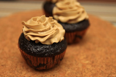 Chocolate cupcakes with coffee buttercream frosting by the boastful baker on Flickr.