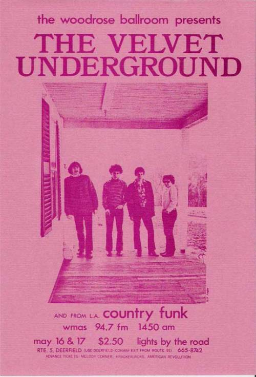 theswinginsixties:  The Velvet Underground flyer advertising two shows on May 16 & 17, 1969.