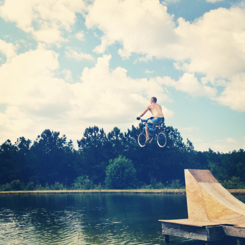 Bike + pond + ramp = Memorial Day 2012. Sooooo much fun.