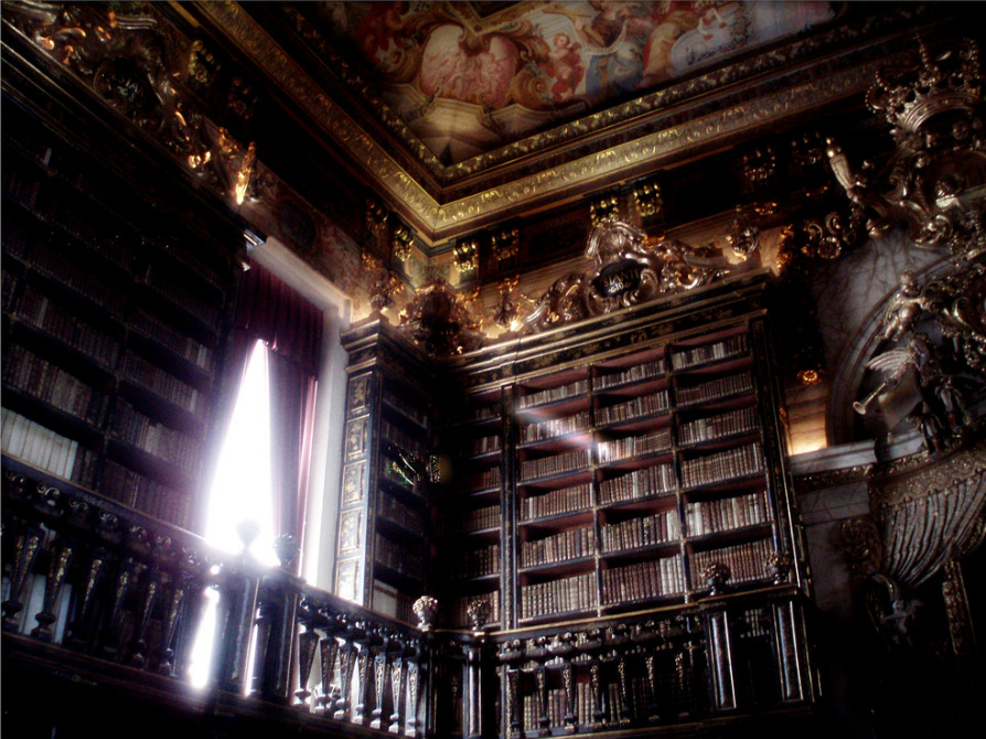 "The Baroque library Biblioteca Joanina (King John's Library) ""I have always imagined that Paradise will be a kind of library. "" Jorge Luis Borges"