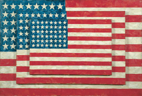 Jasper Johns, Three Flags, 1958, encaustic on canvas (via Whitney Museum of American Art)