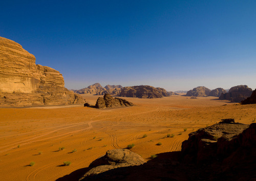 Desert Landscape At Wadi Rum, Jordan by Eric Lafforgue on Flickr.