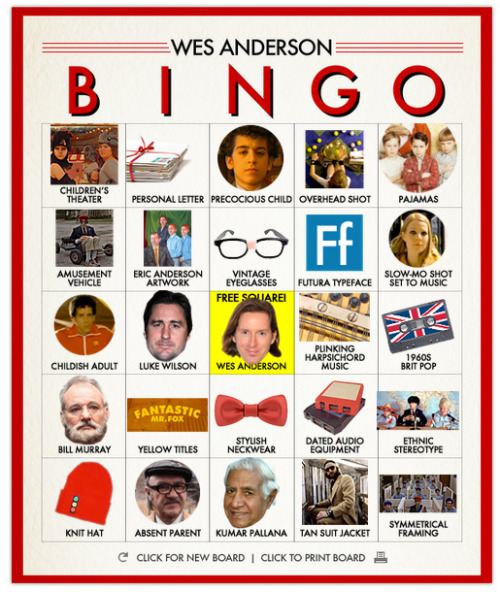 From Slate: http://www.slate.com/blogs/browbeat/2012/05/24/wes_anderson_bingo_play_along_with_moonrise_kingdom_using_our_bingo_board_generator_.html