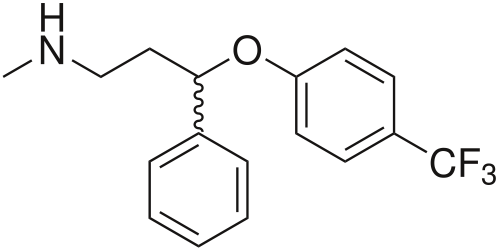 holymoleculesbatman:  This molecule is called Fluoxetine. It is an antidepressant of the selective serotonin reuptake inhibitor (SSRI) class. Fluoxetine was first documented in 1974 by scientists from Eli Lilly and Company.Fluoxetine is approved for the treatment of major depression (including pediatric depression), obsessive-compulsive disorder (in both adult and pediatric populations), bulimia nervosa, panic disorder and premenstrual dysphoric disorder.   I sincerely hope this drug falls into disuse.