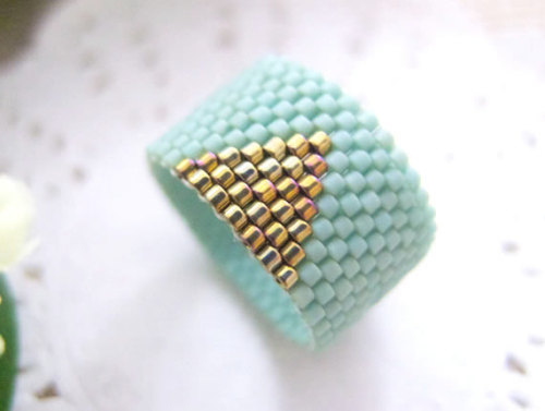Handmade mint beaded ring band available here!