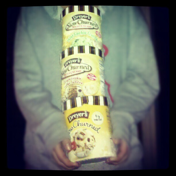 Ommggg I LOVE being home. Im eating every one #dreyers#slowchurned#fudgetracks#triplecookiefudgesundae#mintcookiecrunch (Taken with instagram)