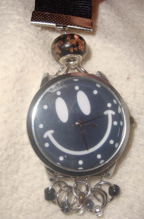 Black Smiley Face Watch $15 Ribbon, glass beads, metal rings and accents, and battery included