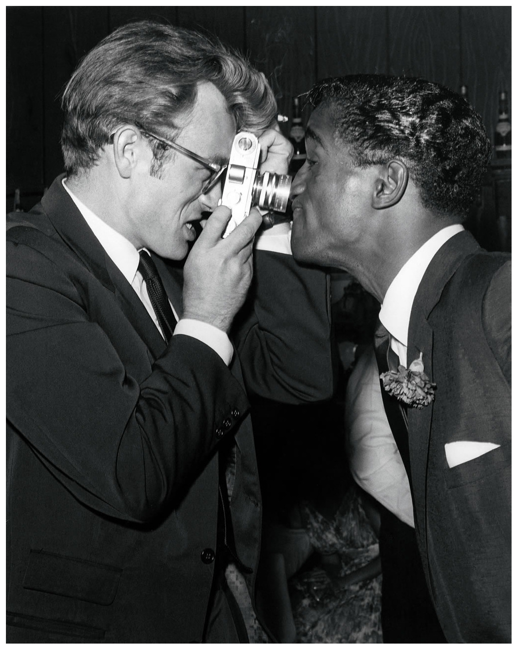 James Dean and Sammy Davis Jr. at Villa Capri. Photo by Darlene Hammond, 1955. [x]