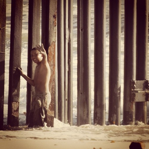 This kid was going back and forth between the border fence (Taken with instagram)