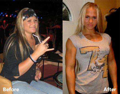 I made a before and after pic of 6x World Armwrestling Champion Sarah Backman!