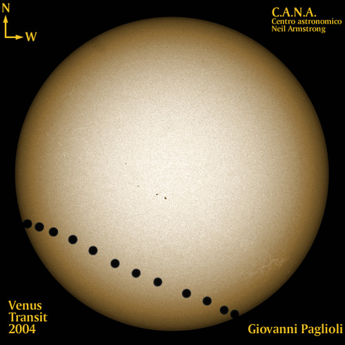 After Solar Eclipse, June's Venus Transit of Sun Is Next Amazing Sky Sight In the image: Giovanni Paglioli took this image on June 8, 2004 from Centro Astronomico Neil Armstrong in Salerno, Italy. The transit, or passage, of Venus across the face of the Sun is one of nature's rarest celestial phenomena.CREDIT: Giovanni Paglioli, Centro Astronomico Neil Armstrong