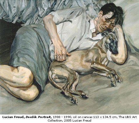 One of several self-portraits of Lucian Freud with his whippet. Courtesy of Sellina di Coffee.