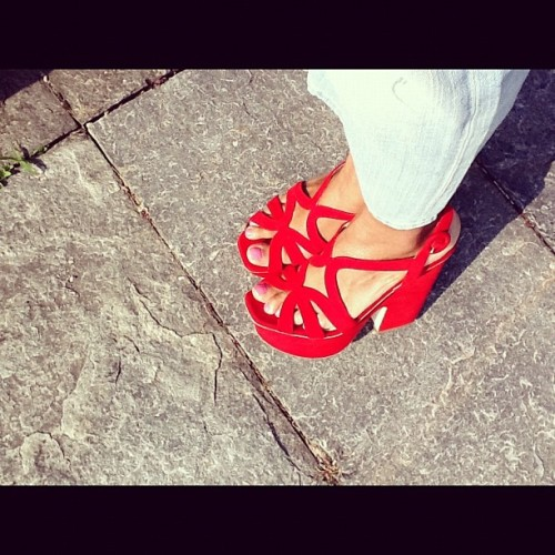 Today's Love: Prada Red Platforms! #accessories #sandals #ladies #tumblr #pictureoftheday #photooftheday #instalove  (Taken with instagram)