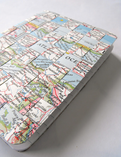 DIY Woven Notebook Tutorial (Using a Vintage Map) by Ruby Murray