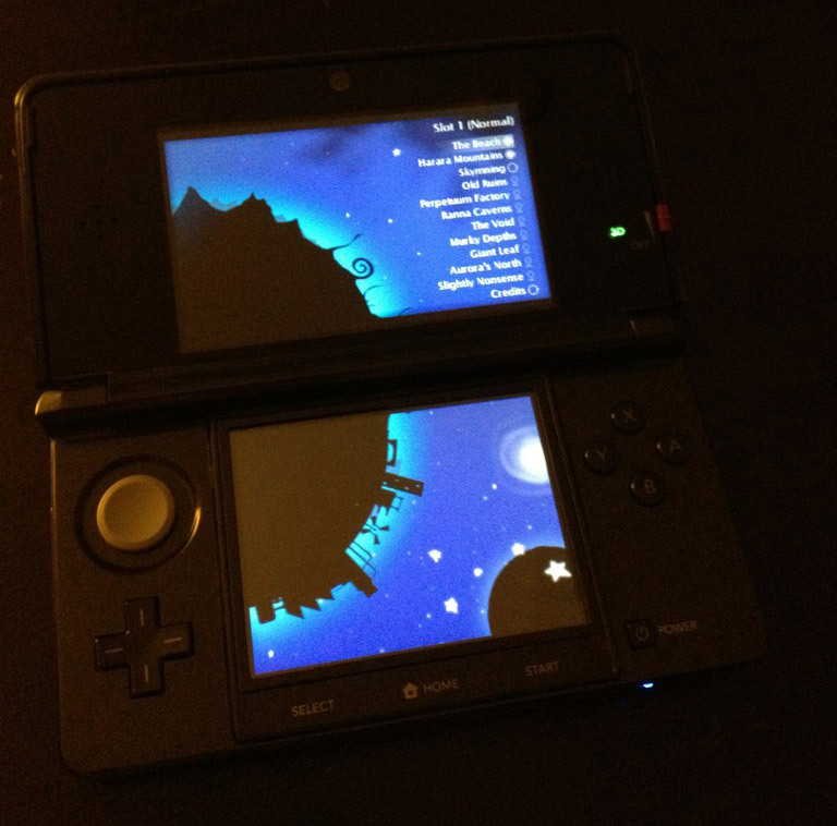 Shot of Nicklas Nygren's NIghtSky running on a 3DS, showing off the PC port's level select screen. I expect Nicalis will bring this to E3, and we'll learn about the project's upcoming release there — provided that the news isn't drowned out by dozens of announcements. Perhaps we'll hear more about Cave Story+, Aban Hawkins & the 1001 Spikes, and Ikachan, too. Buy: Nintendo 3DS (Flame Red, Pearl Pink, Black, & Blue) Find: Nintendo DS/3DS release dates, discounts, & more See also: Nicklas Nygren's Knytt Stories DS beta