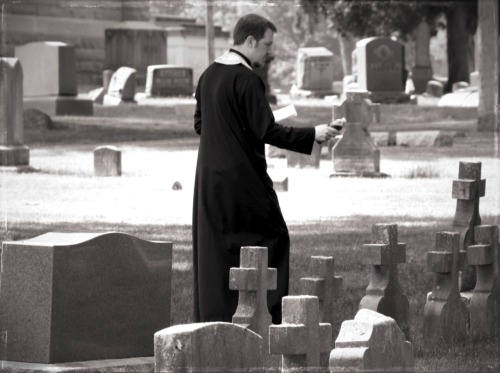 fraleksa:  Blessing the graves at Elmwood Cemetery on Memorial Day, (Noir Filter, Dissolving border, Processed with Analog)