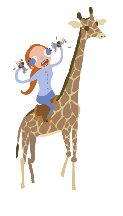 Anna says: Okay Daryl could you draaaawwww…. girl riding on a giraffe while strangling two birds in her hands.