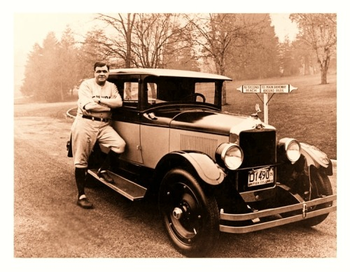 Babe Ruth On The Road With A 1926 NashBabe sure loved cars…and he looks happy to pose with what looks to be a 1926 Nash Sedan (dated from the Canadian license plate).